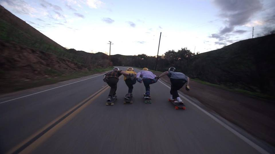 Photo of the Decent team bombing a California hill